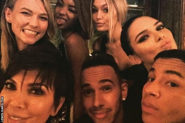 Lewis Hamilton and friends at Paris Fashion Week