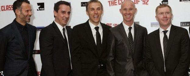 (l-r) Ryan Giggs, Gary Neville, Phil Neville, Nicky Butt and Paul Scholes