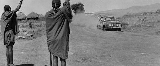 Pat Moss in the East African rally in 1966