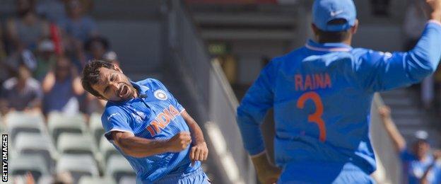 Mohammed Shami celebrates a wicket