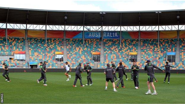 Ireland training session at the Bellerive Oval in Hobart