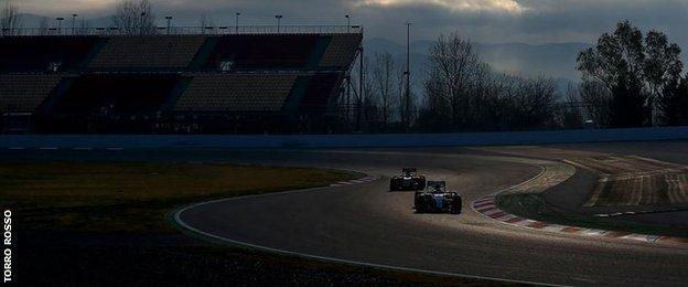 Formula One cars on track