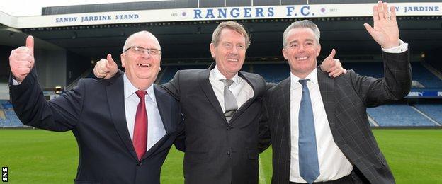 Rangers directors John Gilligan, Dave King and Paul Murray