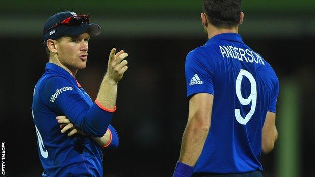 England captain Eoin Morgan (left) with James Anderson (right)