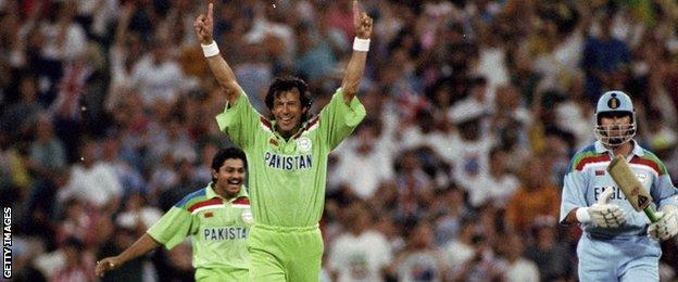 Pakistan captain Imran Khan celebrates a World Cup win over England in 1992