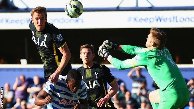 Harry Kane heads Tottenham ahead against QPR