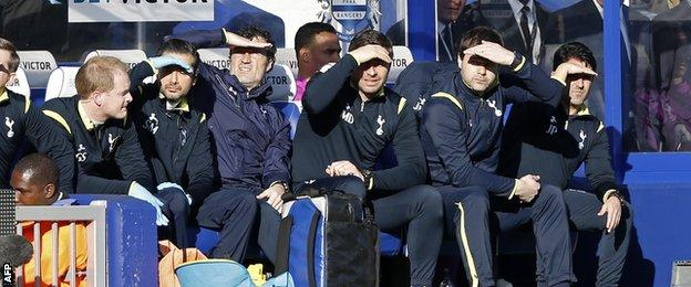 Tottenham dugout shield their eyes from the sun