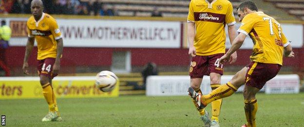 Scott McDonald curls in the leveller for Motherwell