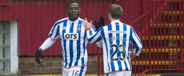 Tope Obadeyi is congratulated by Kilmarnock team-mate Chris Chantler for scoring the opening goal