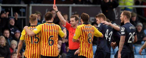 Kallum Higginbotham is red carded