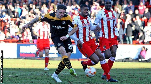 Newport's Miles Storey in action against Stevenage