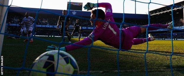 Sandro beats Hugo Lloris for QPR's consolation goal