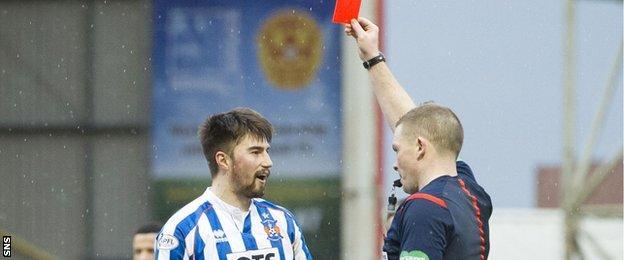 Referee John Beaton sends off Darryl Westlake