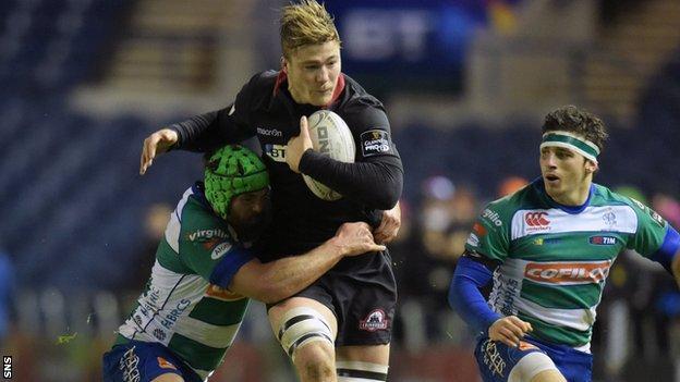 Dave Denton carries for Edinburgh