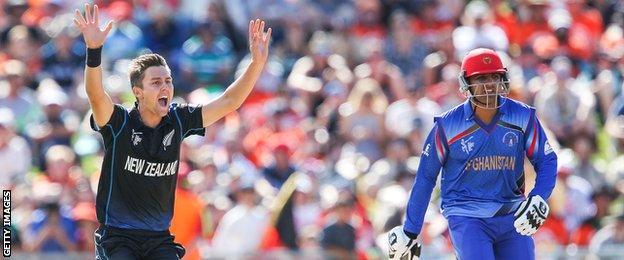 New Zealand's Trent Boult appeals for lbw