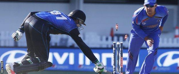 New Zealand's Martin Guptill is run out