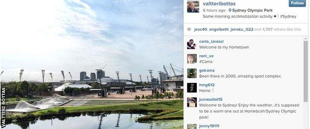 Valtteri Bottas post on Instagram