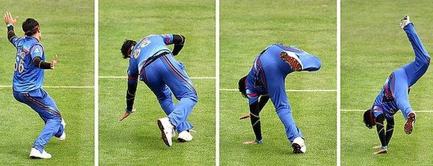 Afghanistan's Hamid Hassan cartwheels