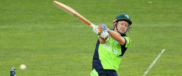 Ed Joyce hit a majestic 112 to help Ireland to a five-run win at the Bellerive Oval in Hobart