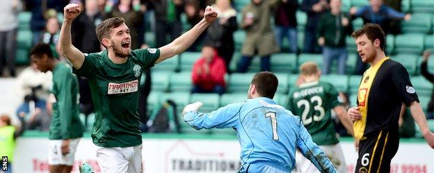 Sam Stanton celebrates after scoring for Hibs