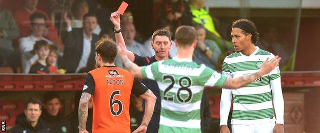 Referee Craig Thomson sends off Paul Paton and Virgil van Dijk