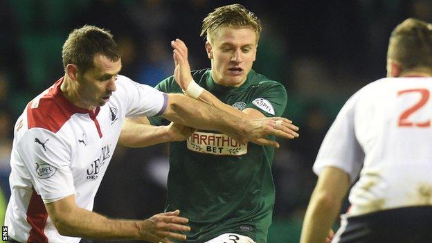 Falkirk's David McCracken challenges Hibernian's Jason Cummings