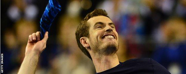 Andy Murray celebrates the Davis Cup win over USA
