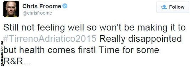 Chris Froome twitter
