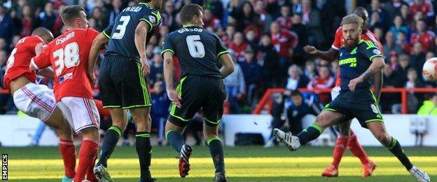 Dexter Blackstock scores for Nottingham Forest