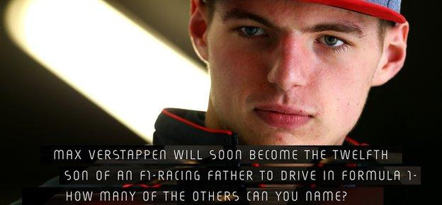 Max Verstappen will soon become the 12th son of an F1-racing father to compete in Formula 1 - can you name the 11 others?