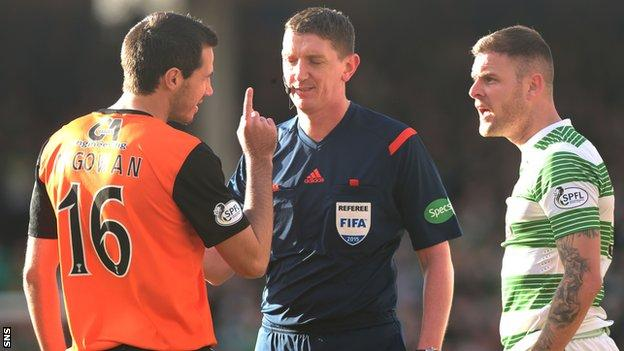 Dundee United's Ryan McGowan said Celtic have earned soft penalties this season.