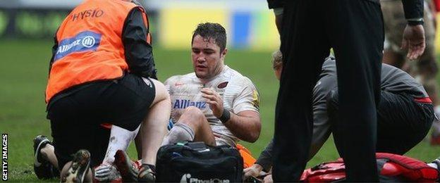 Barritt was injured playing for Saracens against Wasps as the Ricoh Arena on Sunday