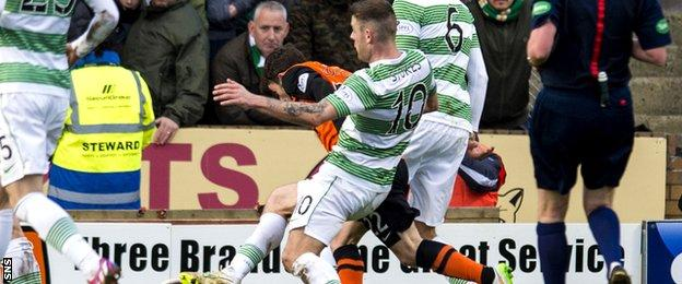 Anthony Stokes' challenge on United's Aidan Connolly led to a penalty kick at Tannadice.