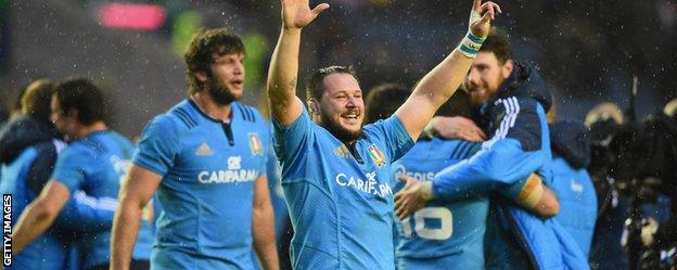 Italy celebrate at Murrayfield