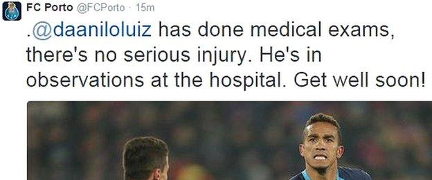 Porto Tweeted after the game to say stand-in captain Danilo was recovering well in hospital