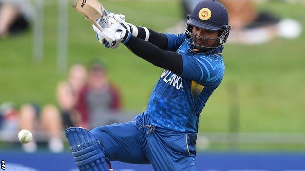Kumar Sangakkara on his way to 124 against Scotland in Hobart