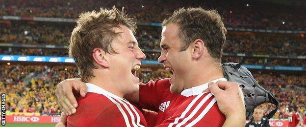 Jonathan Davies and Jamie Roberts celebrate after the British & Irish Lions's series win in Australia in 2013