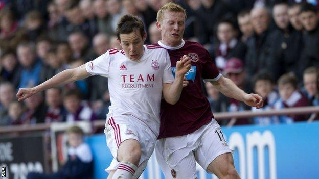 Andrew Driver (right) in action against Aberdeen during his seven years at Hearts.