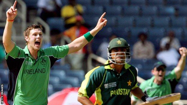 Ireland bowler Boyd Rankin celebrates after dismissing Pakistan's Younis Khan during the 2007 World Cup match in Jamaica