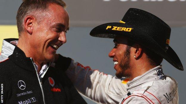 Martin Whitmarsh celebrates with Lewis Hamilton