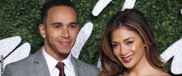Lewis Hamilton and Nicole Scherzinger at the British Fashion Awards