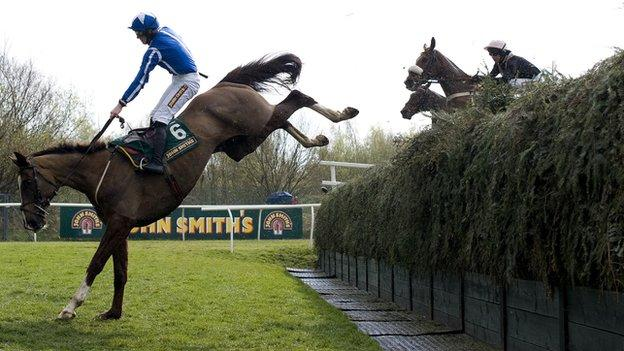 Little Josh lands heavily after jumping over Becher's Brook at Aintree in 2012
