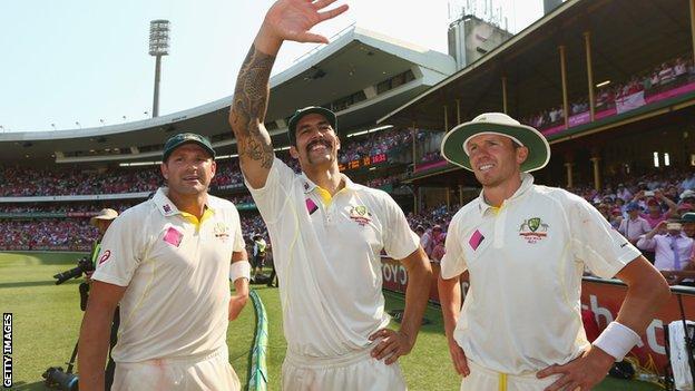 Australia pacemen Ryan Harris, Mitchell Johnson and Peter Siddle