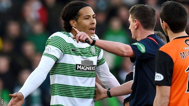 Van Dijk's sending off against Dundee United was his second red card in 10 days