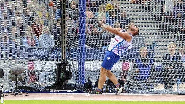 Hammer thrower Mark Dry was a Scottish Commonwealth Games bronze medallist at Hampden.