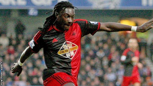 Striker Bafetimbi Gomis joined Swansea from Lyon in June 2014
