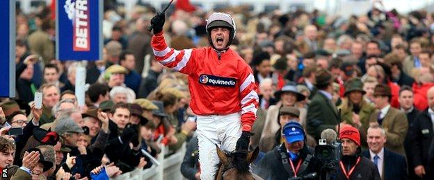 Nico de Boinville on Coneygree celebrates