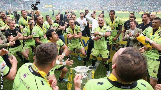 Northampton celebrate winning the 2013/14 Premiership