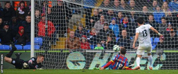 James McArthur slots in Crystal Palace's second against QPR