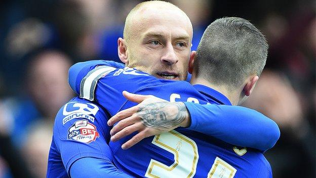 Birmingham City winger David Cotterill is congratulated after scoring his side's opener against Huddersfield at St Andrew's